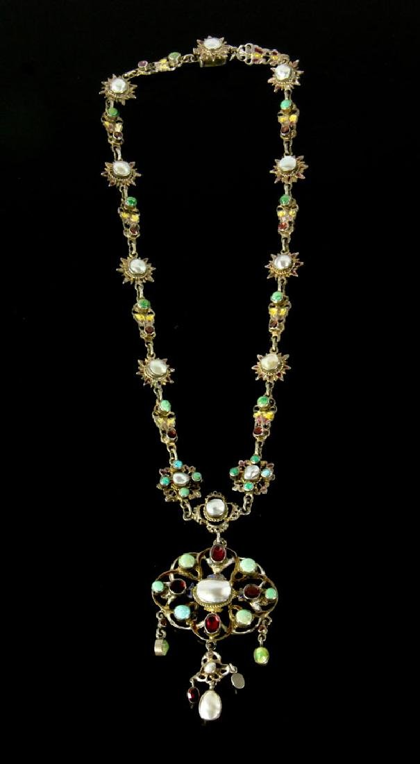 Austro-Hungarian Silver and Enamel Necklace - 7