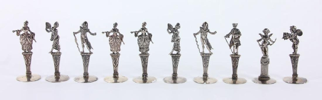 Ten Figural Silver Place Card Holders