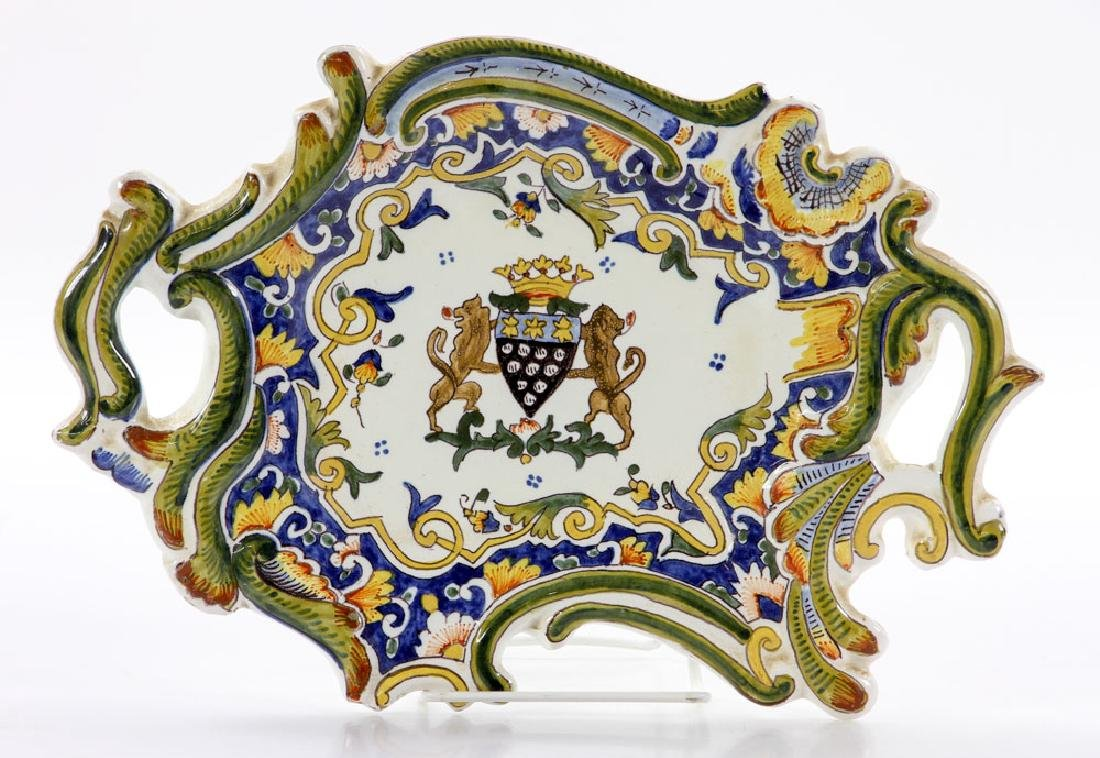 French Armorial Faience Dish