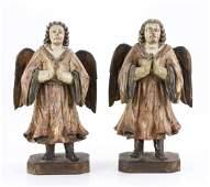 Pair Italian Polychrome Angels