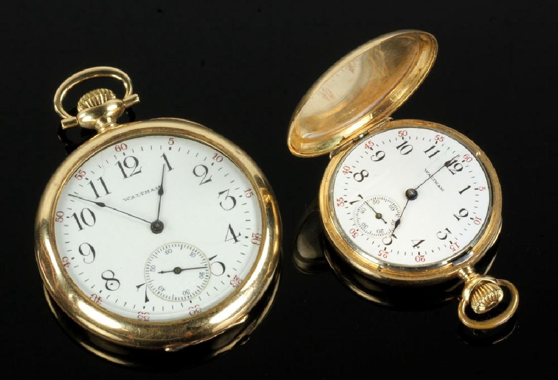 Two 14K Gold Waltham Pocket Watches