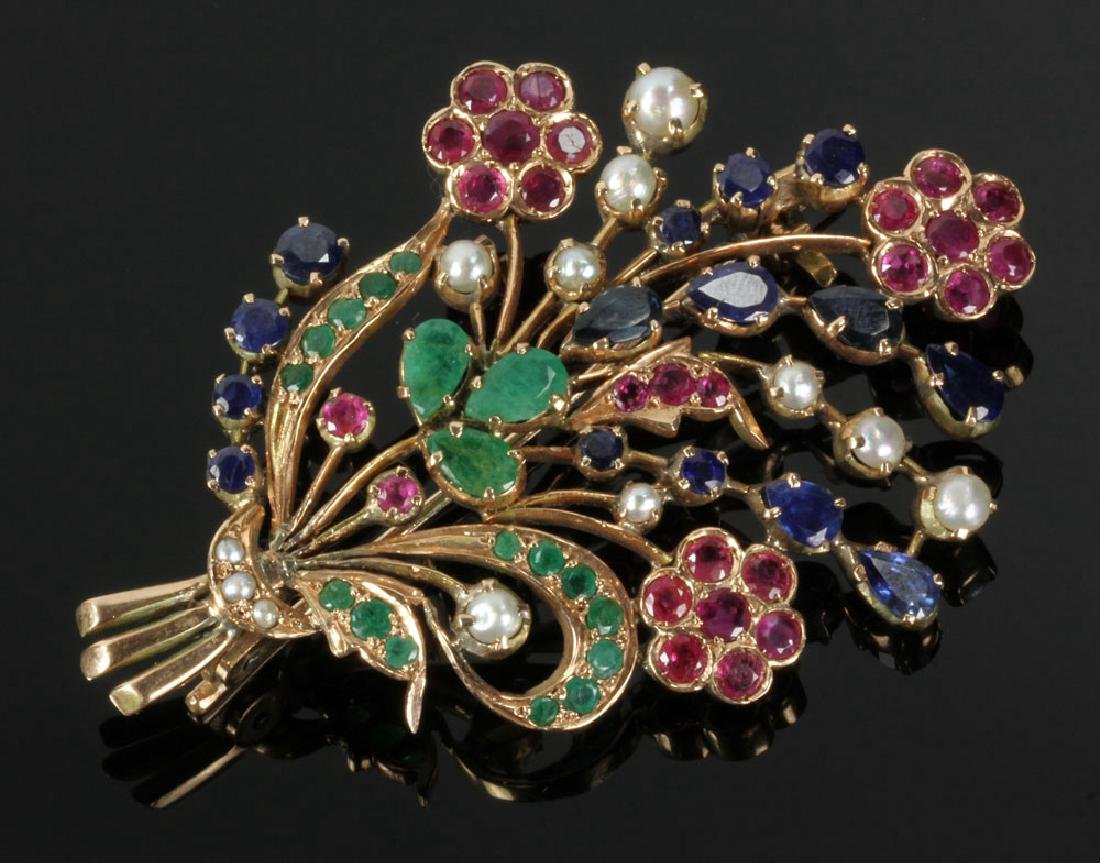 14K Gold and Jewel Floral Brooch