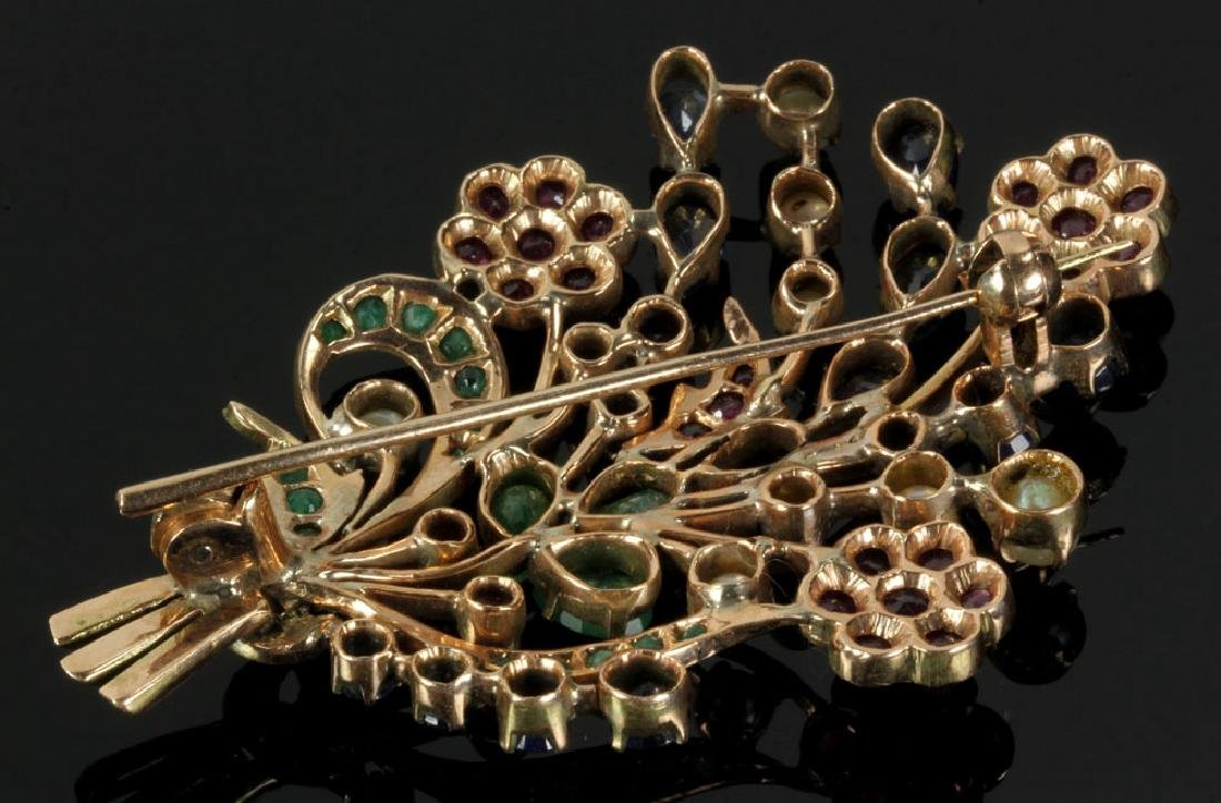 14K Gold and Jewel Floral Brooch - 2
