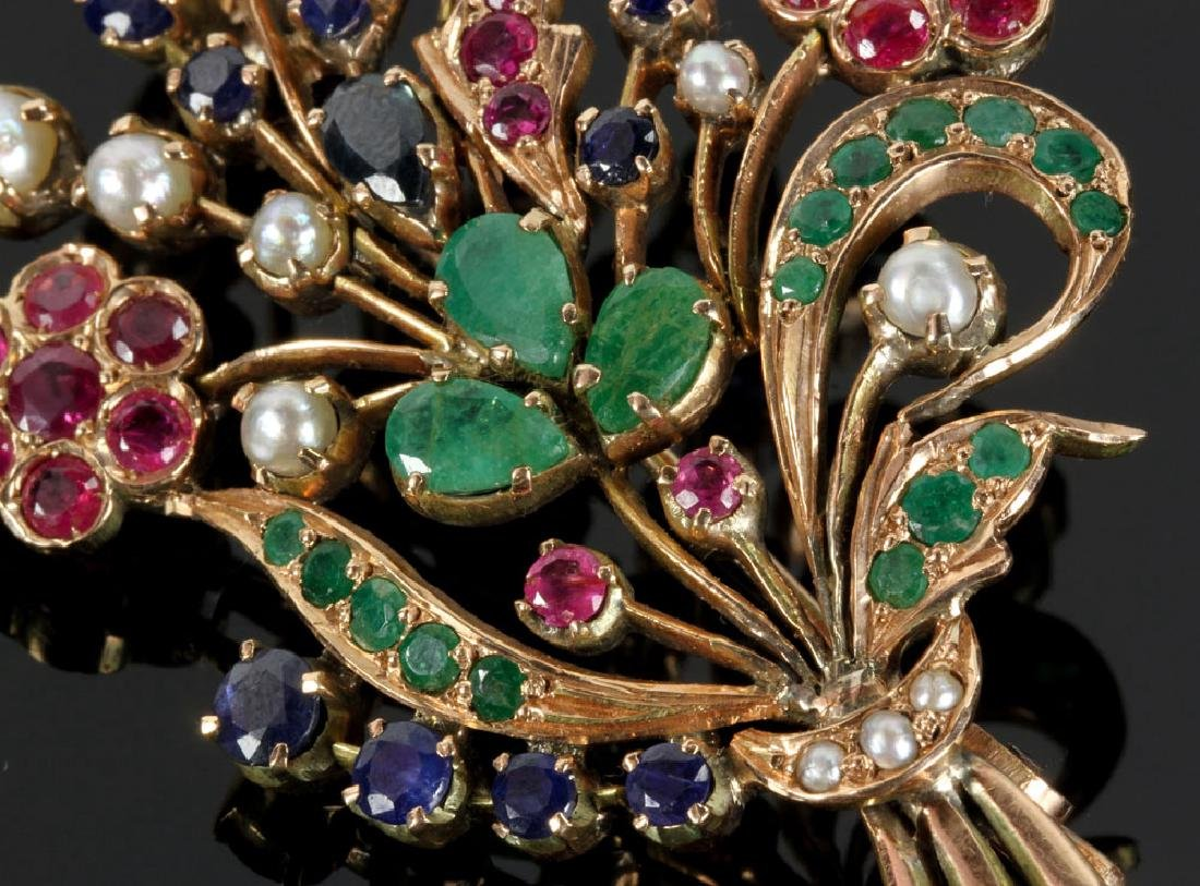 14K Gold and Jewel Floral Brooch - 4