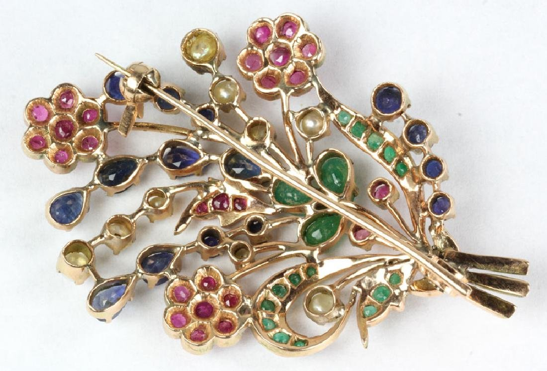 14K Gold and Jewel Floral Brooch - 6