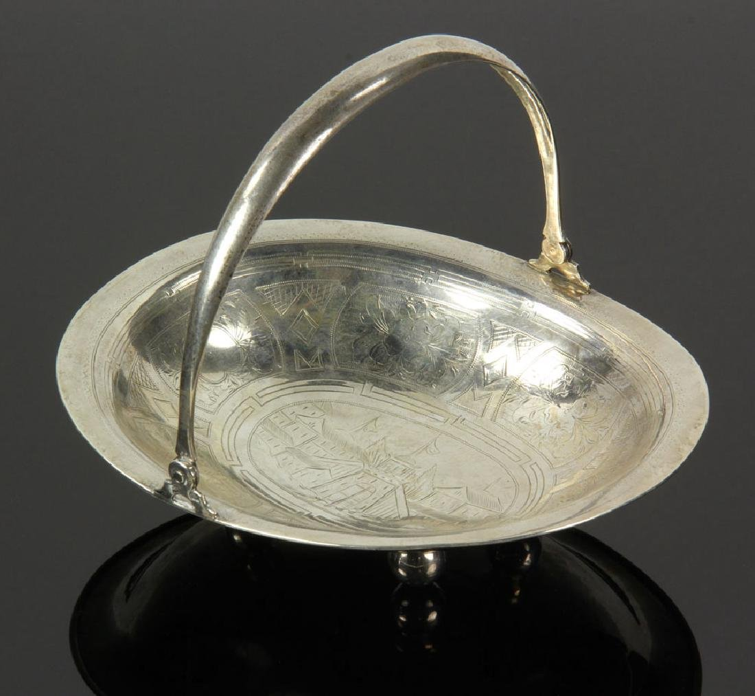 Russian Silver Engraved Basket