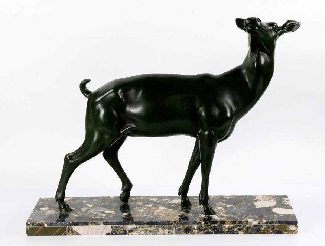 Cold Painted Doe Statue