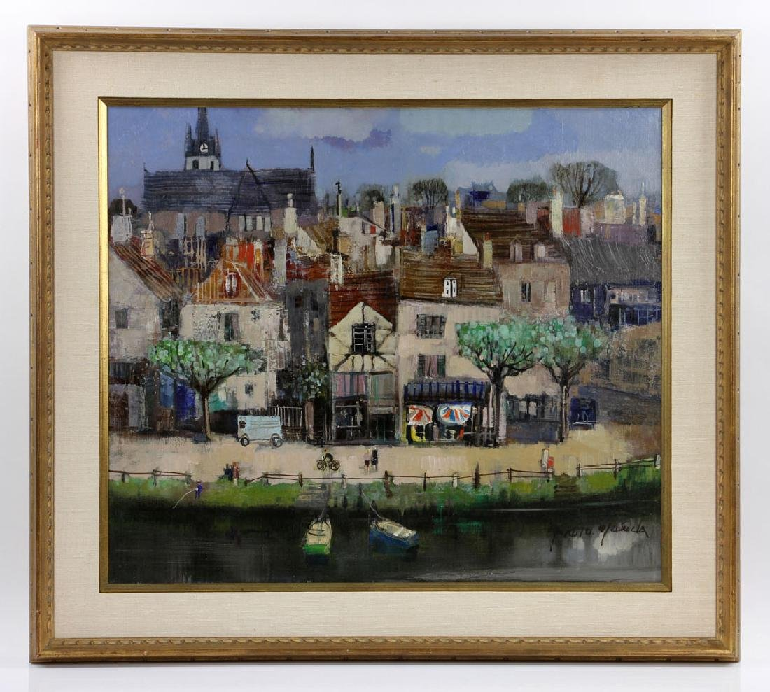 Jasuela, Waterfront Village, Oil on Canvas