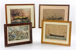 Four 19th C Currier  Ives Colored Lithographs