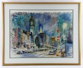 Demetropoulos, Boston Cityscape, Watercolor