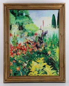 """Turpin, """"Sissinghurst Gardens,"""" Oil On Canvas"""