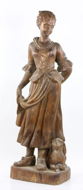 18th C. Carved Figure of a Maiden