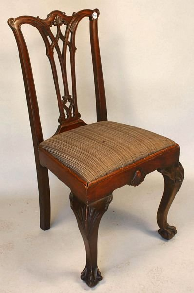 2015: FOUR 19th C. CHIPPENDALE MAHOGANY CHAIRS