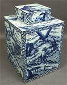 2185 20th CENTURY CANTON BLUE  WHITE TEA CADDY