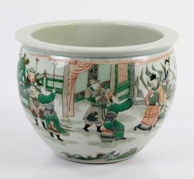 Chinese Famille Verte Porcelain Fish Pot