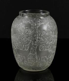 Lalique Vase with Deer