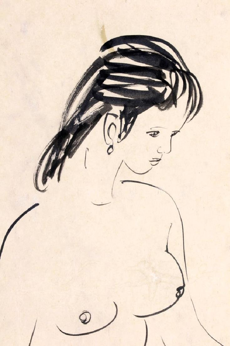 Signed Huang Zhou, Nude Girl, Ink on Paper - 4