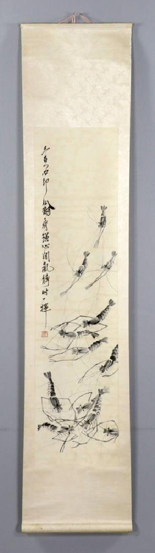Signed Qi Baishi, Shrimps, Watercolor Scroll