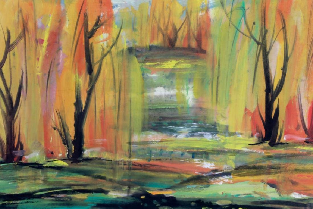 Signed Lin Fengmian, Fall Landscape, Watercolor - 3