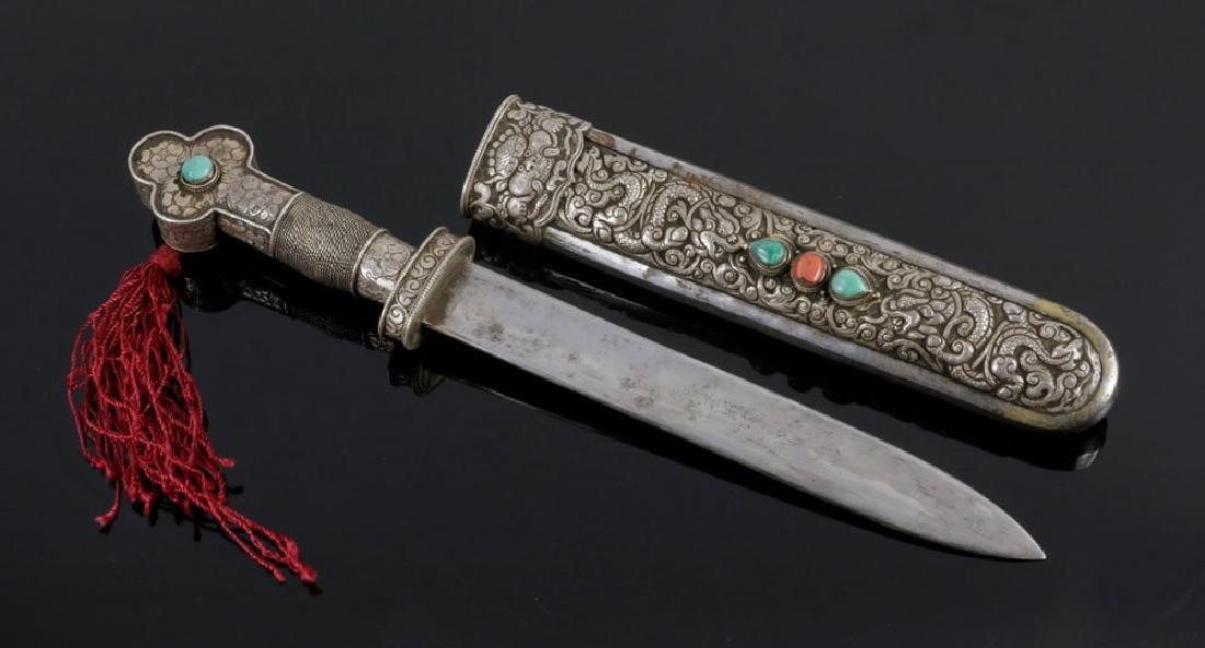 Tibetan Silver and Stone Inlaid Dagger - 2