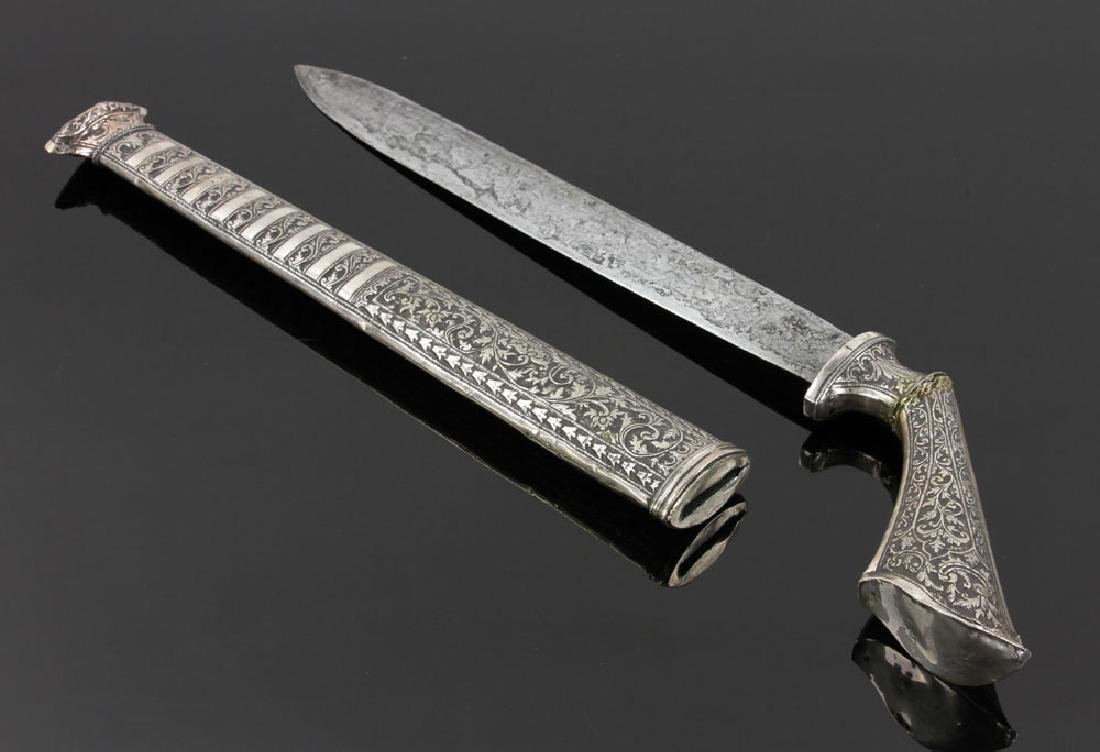 Indian Silver Dagger with Tilted Handle - 3