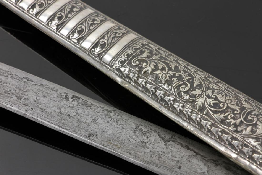 Indian Silver Dagger with Tilted Handle - 5
