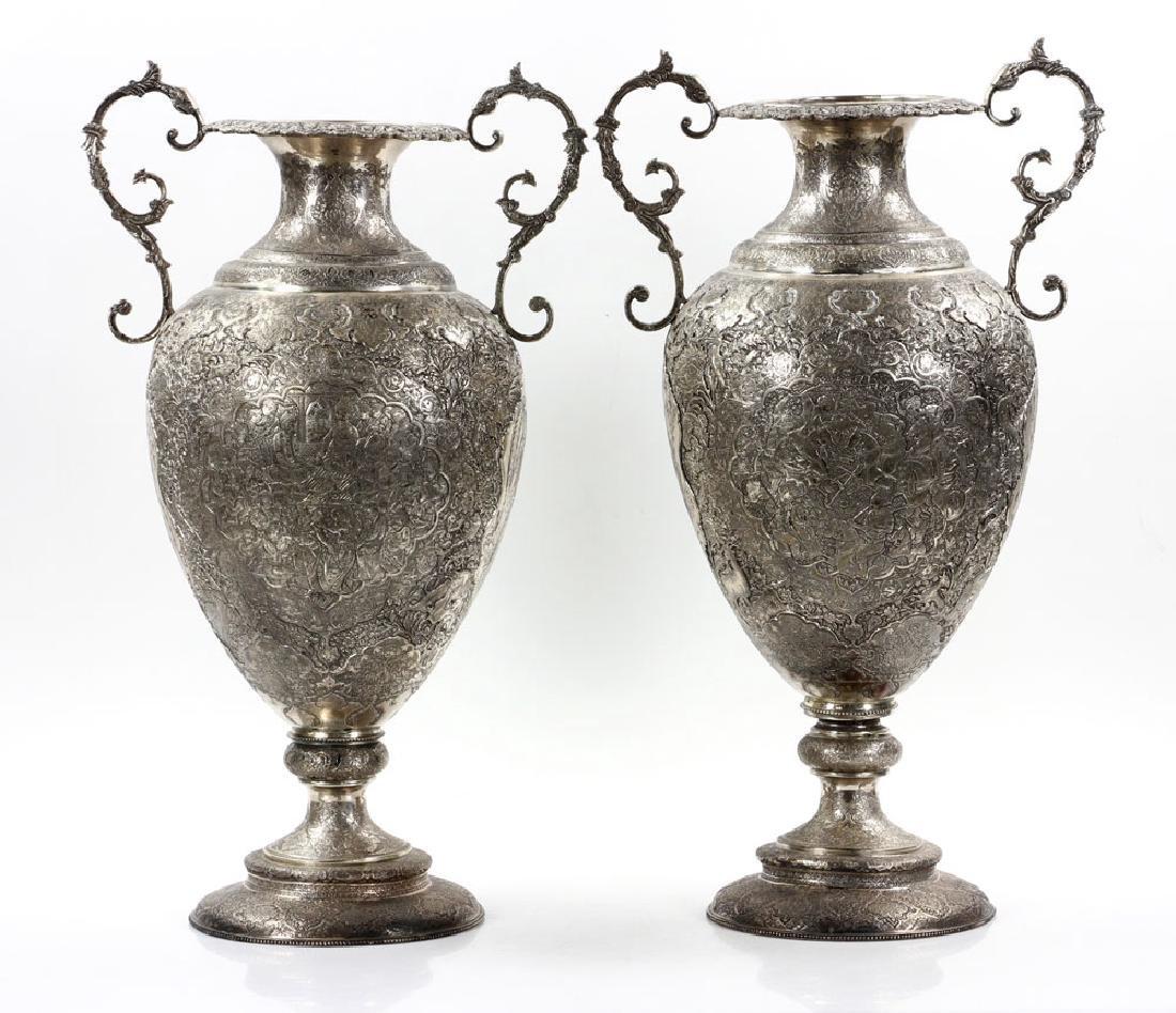 Pr. Persian Silver Vases