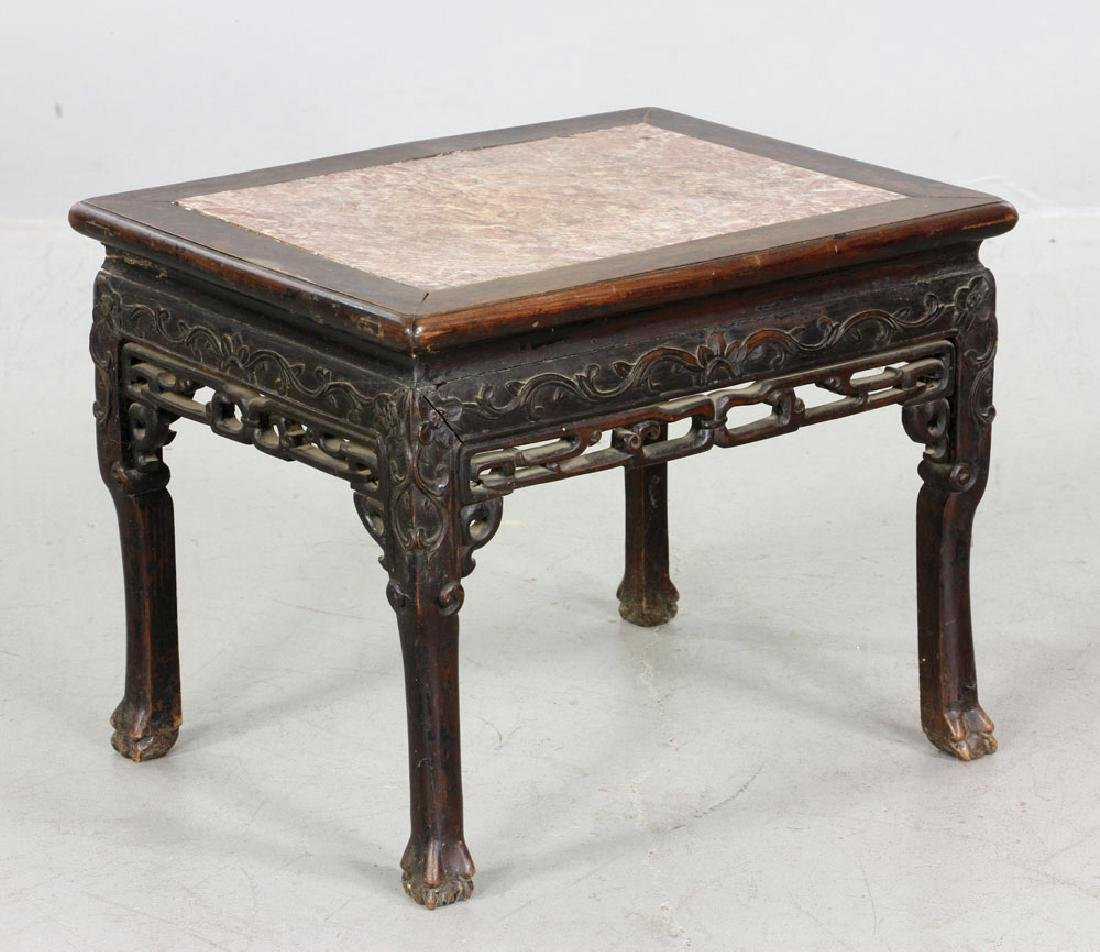 Chinese Hardwood Marble Top Stand - 2