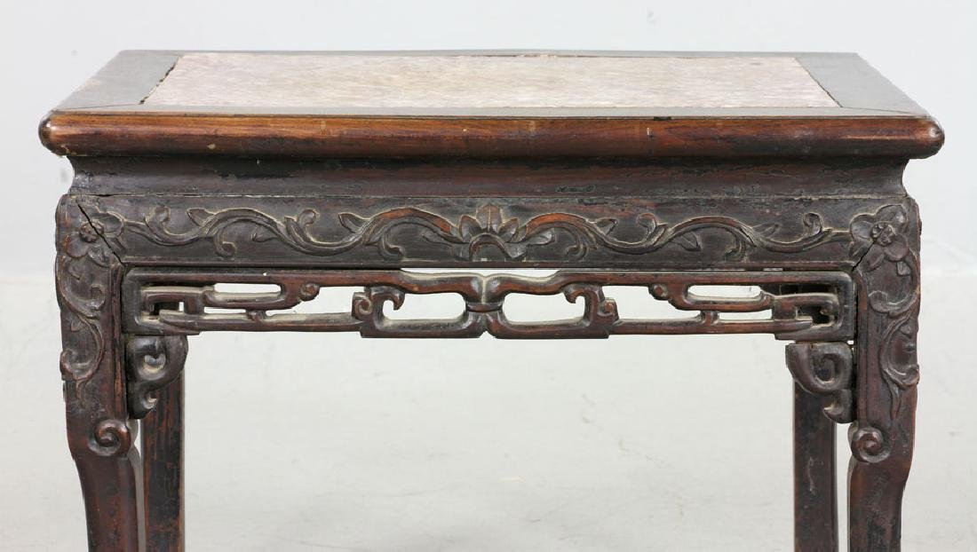Chinese Hardwood Marble Top Stand - 4