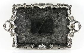 19th C. English Georgian Solid Silver Tray
