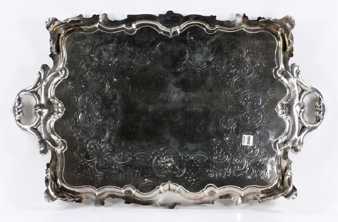 19th C. English Georgian Solid Silver Tray - 2