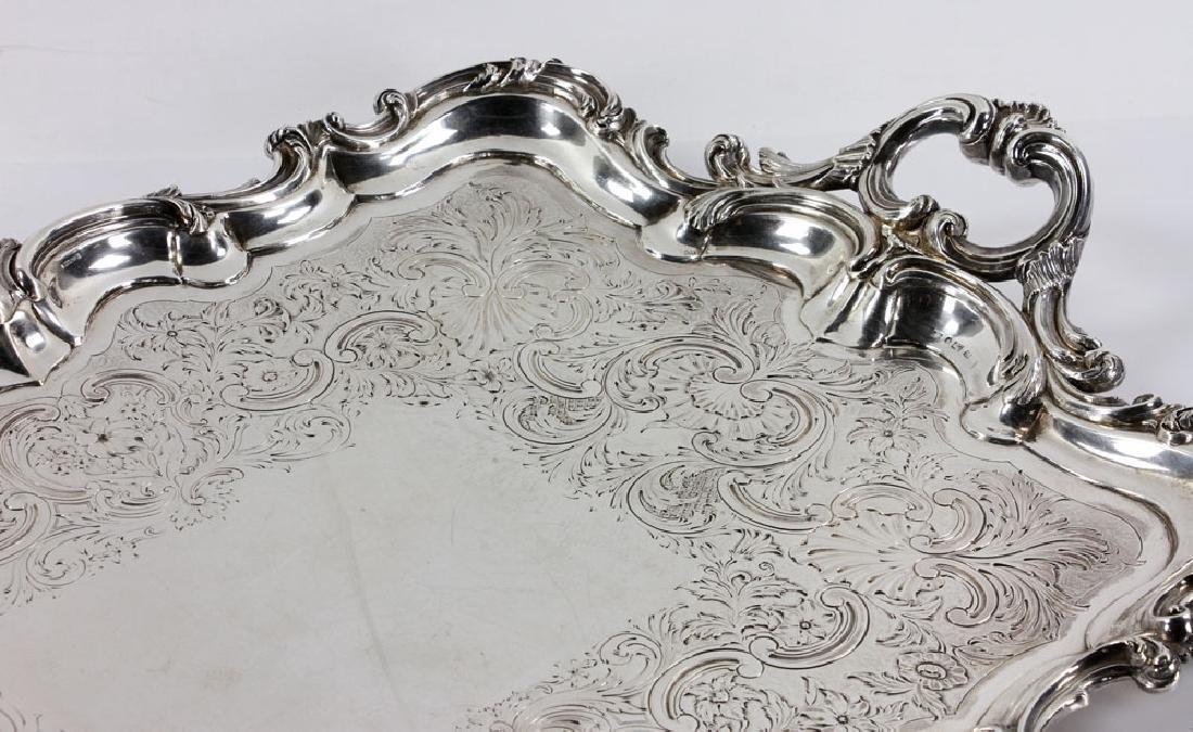 19th C. English Georgian Solid Silver Tray - 3