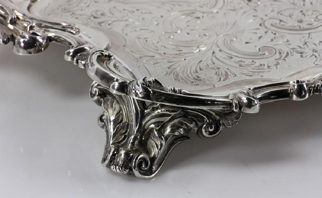 19th C. English Georgian Solid Silver Tray - 4
