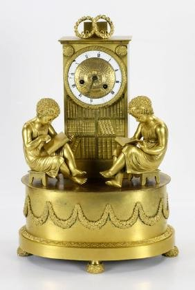 19th C. French Gilt Bronze Library Clock