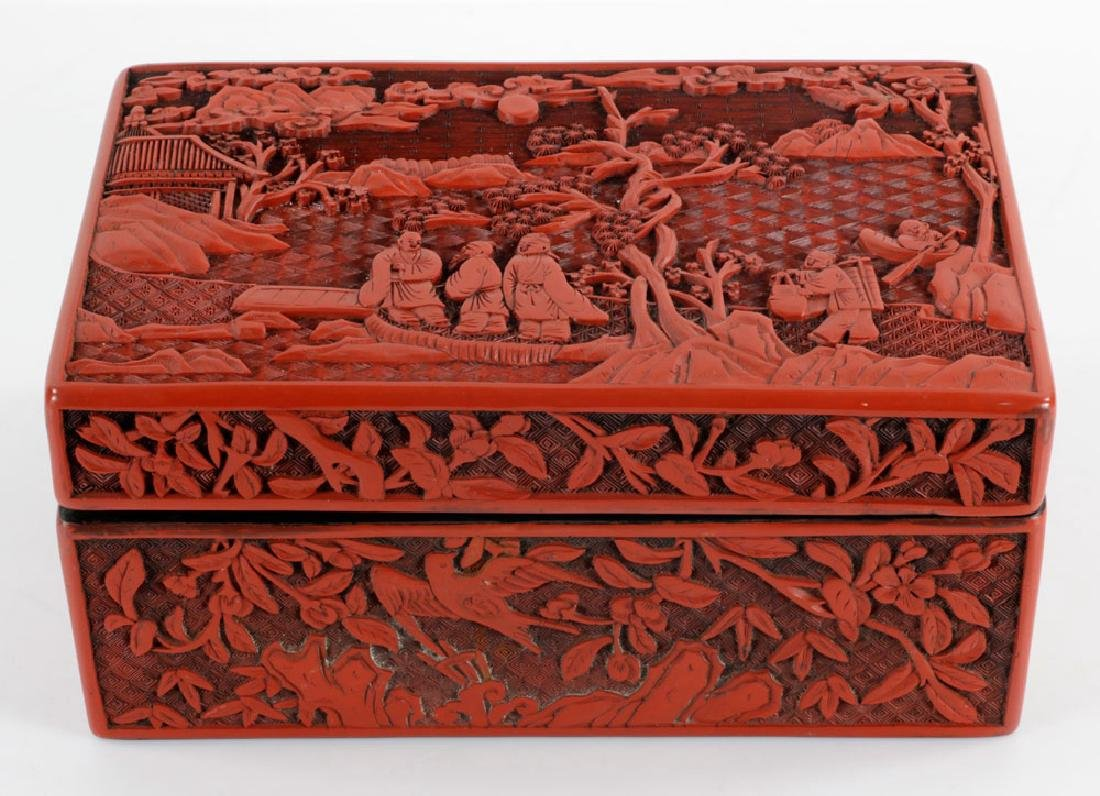 Large Chinese Rectangular Cinnabar Box