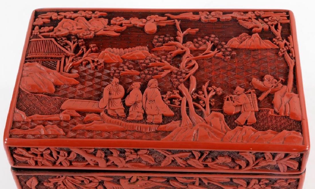 Large Chinese Rectangular Cinnabar Box - 4