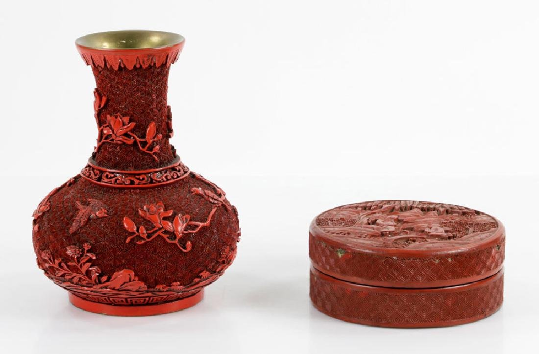 Two Red Lacquered Items