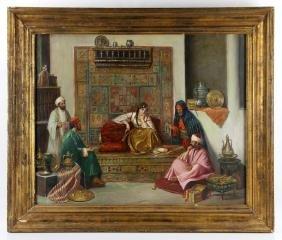 19th C. Orientalist Painting of Interior Scene, Oil