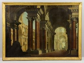 Panini, View of Roman Ruins, Oil on Canvas