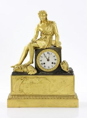 Bronze Dore and Patinated Figural Clock