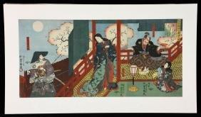 Kunisada (Toyokuni III), Japanese Woodblock Triptych