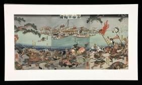 Kuniyoshi, Japanese Woodblock Triptych