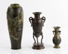 Three Japanese Bronze Vases