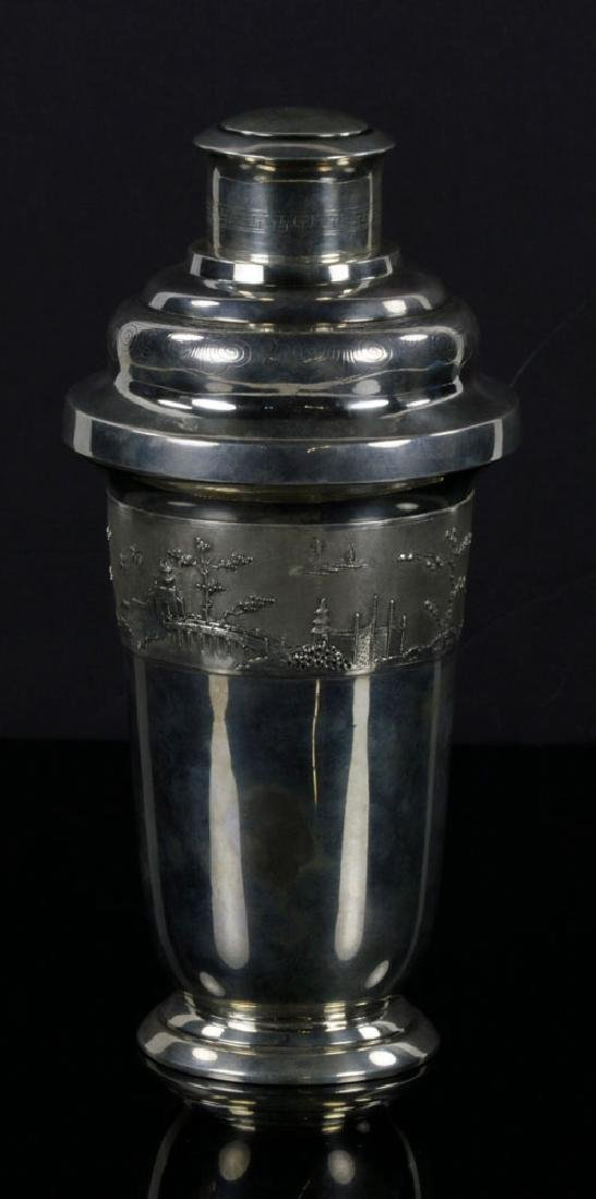 Sterling Asian Motif Cocktail Shaker