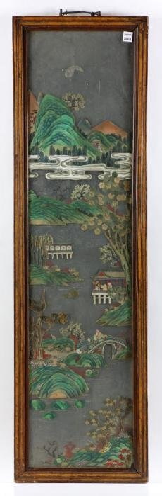19th C. Chinese Mirrored Landscape Panel