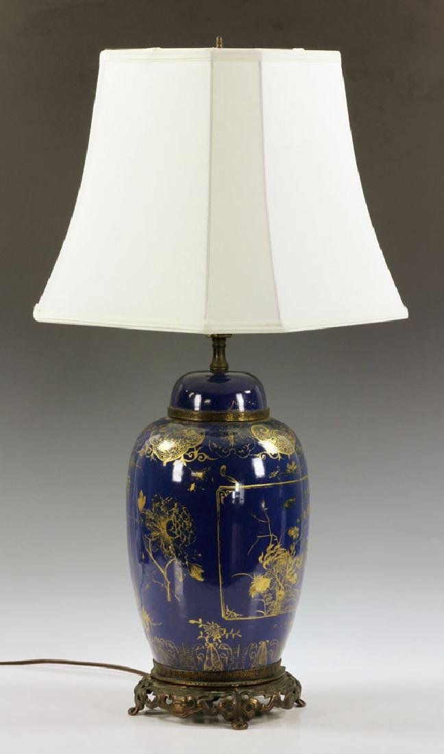 Chinese Gilt on Blue Glazed Porcelain Vase - 2