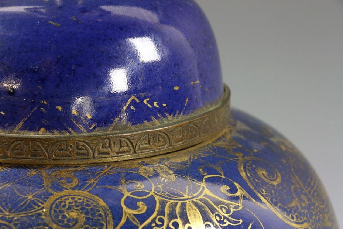 Chinese Gilt on Blue Glazed Porcelain Vase - 5