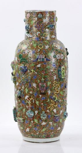 Late 19th C. Large Chinese Famille Verte Vase