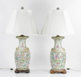 Pair of Rose Mandarin Lamps