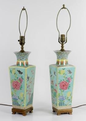 Pair of Porcelain Vase Lamps